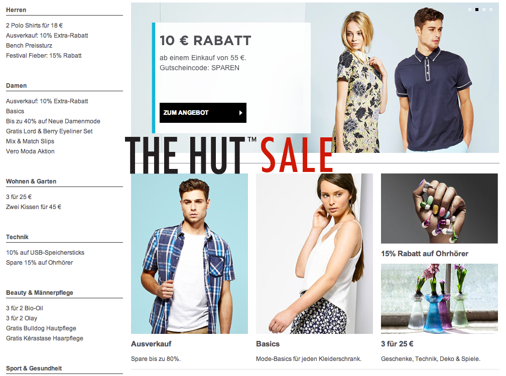 The Hut Online Shop Sale